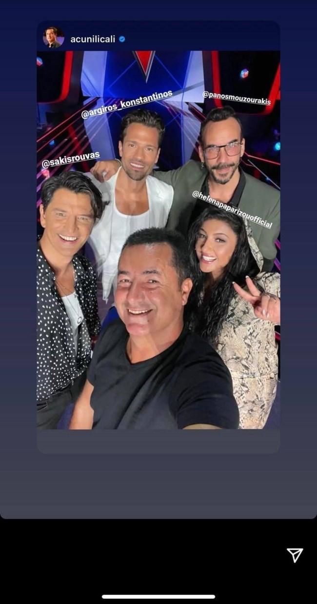 """Η πρώτη φωτογραφία του Κωνσταντίνου Αργυρού μαζί με τους κριτές του """"The Voice"""""""