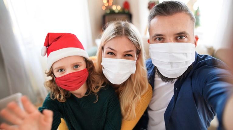 οικογένεια Χριστούγεννα μάσκες