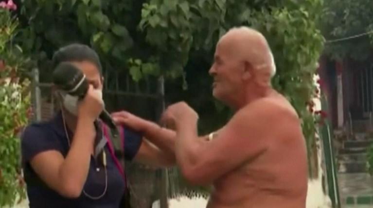 Ευλαμπία Ρέβη, Κάτοικος Εύβοιας ξεσπούν σε κλάματα